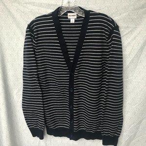 Men's Navy Blue V-neck Cardigan w White Stripes S